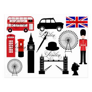 Moderne Ikonen Londons Großbritannien Vintager Postkarte