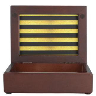 Moderne Imitat-Goldfolien-Schwarz-Streifen Erinnerungsdose