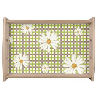 Moderne Karo-Druck-Muster-Gänseblümchen-Blumen Serviertablett