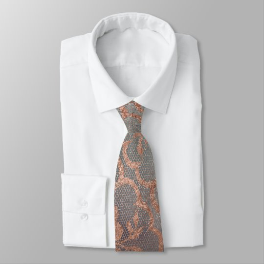 Moderne königliche rosa Rosen-Goldpulver-Spitze Bedruckte Krawatten