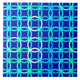 Moderne Kreise, Kobalt u. Pfau der Mitte des Keramikfliese