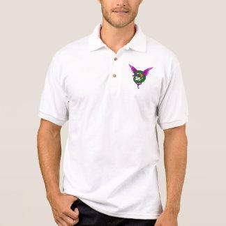 Moderne Kunst Nouveau grüner und lila Drache Polo Shirt