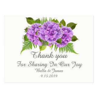 Moderne lila Hydrangea-Hochzeit danken Ihnen Postkarte