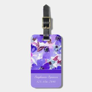 Moderne lila Watercolor-Gepäck-mit Blumenumbauten Gepäckanhänger