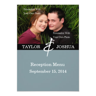 Moderne Linien Schiefer-blaues Foto-Hochzeits-Menü 12,7 X 17,8 Cm Einladungskarte