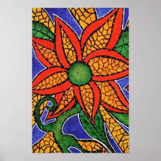 Moderne Malerei-bunte Blume Poster