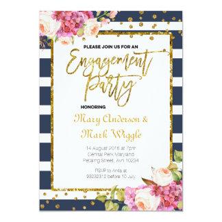 Moderne Marine Stripes Verlobungs-Party Einladung