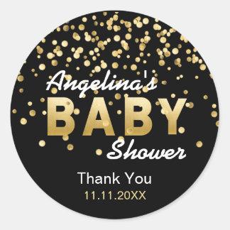 Moderne modische schwarze Goldconfetti-Babyparty Runder Aufkleber
