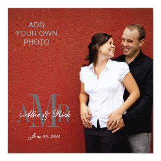 Moderne Monogramme mit Foto-Hochzeits-Einladungen Quadratische 13,3 Cm Einladungskarte