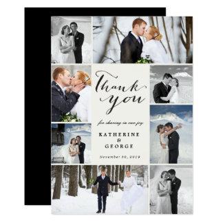 Moderne noble Foto-Collagen-Hochzeit danken Ihnen Karte