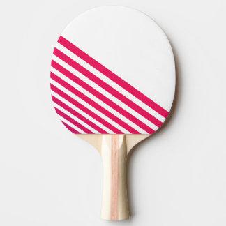 Moderne Pinkish rote lineare Streifen und Weiß Tischtennis Schläger