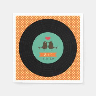 Moderne Retro Vinylaufzeichnungs-Hochzeit Papierservietten