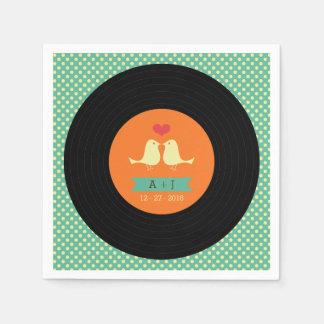 Moderne Retro Vinylaufzeichnungs-Hochzeit Serviette