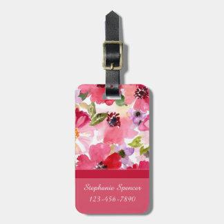 Moderne rosa Aquarell-mit BlumenGepäckanhänger Gepäckanhänger