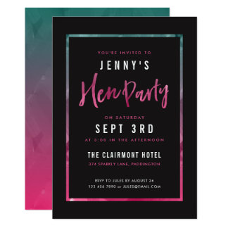 Moderne rosa u. grüne Henne-Party Einladungen