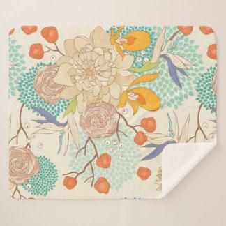 Moderne Rosen-Pfingstrosen-Blumen-Muster Sherpa Sherpadecke