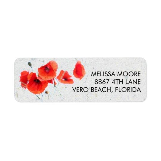 Moderne rote Mohnblumen-BlumenRücksendeadresse Rücksendeetikett