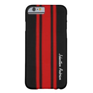 Moderne rote und schwarze laufende Streifen mit Barely There iPhone 6 Hülle