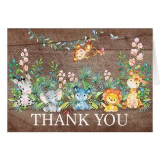 Moderne Safari-Dschungel-Babyparty danken Ihnen zu Mitteilungskarte