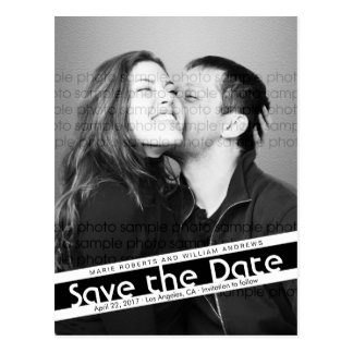 Moderne Save the Date Foto-Postkarte mit Benennung Postkarte