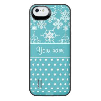 Moderne Schneeflocke-Polka-Punkte personalisiert iPhone SE/5/5s Batterie Hülle