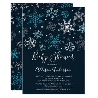 Moderne Schneeflocke-Winter-Babyparty-Einladung Karte