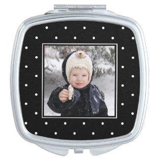 Moderne Schwarzweiss-Punkte mit Foto Taschenspiegel