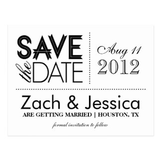 Moderne Schwarzweiss-Typografie Save the Date Postkarte