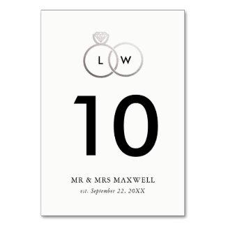 Moderne silberne Hochzeits-Ring-Tischnummer Karte