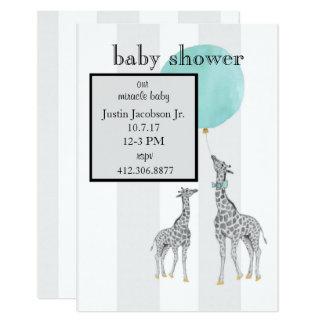 Moderne Streifen-Babyparty-Mitteilung (Junge) 8,9 X 12,7 Cm Einladungskarte
