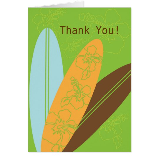 Moderne Surfbretter danken Ihnen Anmerkungs-Karte Mitteilungskarte