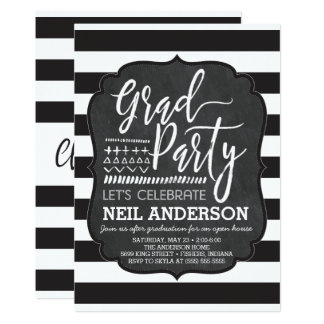 Moderne Tafel skizzierte Absolvent-Party 12,7 X 17,8 Cm Einladungskarte