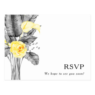 Moderne Tropische Hochzeit-RSVP-Postkarte Postkarte