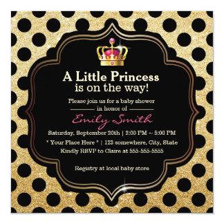 Moderne Tupfen kleine Babyparty Prinzessin-Girl Quadratische 13,3 Cm Einladungskarte