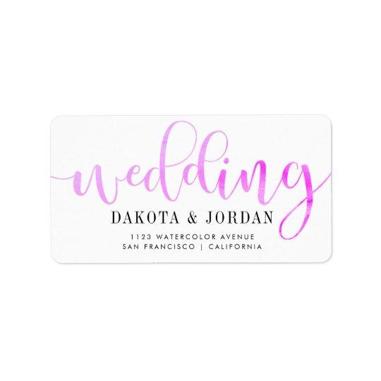 Moderne Typografie| lila Watercolor-Hochzeit Adressaufkleber