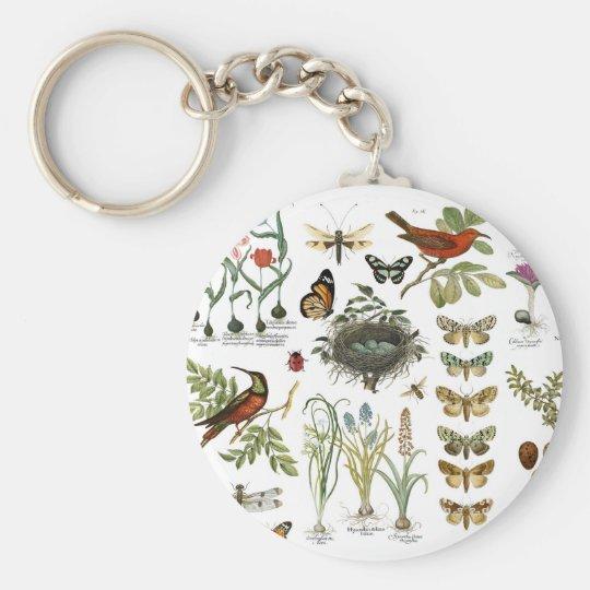 moderne Vintage französische botanische Vögel und Schlüsselanhänger