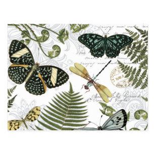 moderne Vintage Schmetterlinge und Libellen Postkarte