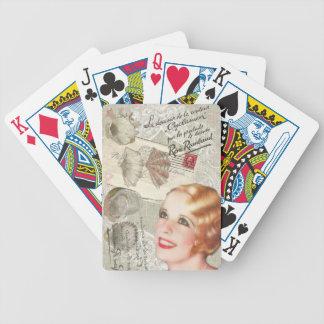 moderne Vintage Seashellfranzosen scripts Bicycle Spielkarten