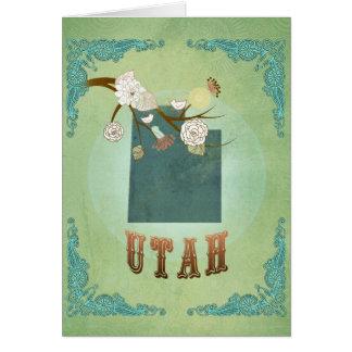Moderne Vintage Utah-Staats-Karte - weises Grün Karte