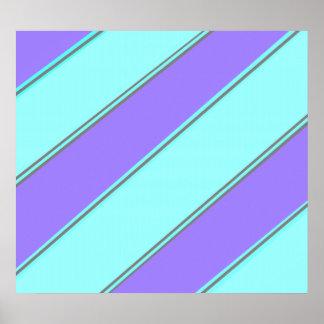 Moderne violette blaue diagonale Streifen Poster
