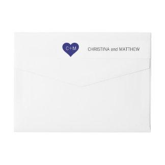 Moderne Wedding Marine-Blau-weiße Herz-Initialen