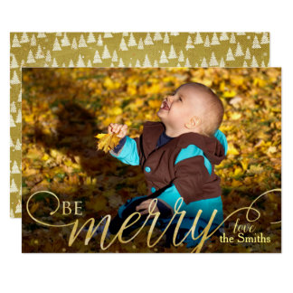Moderne Weihnachtshand geschriebene goldene Karte