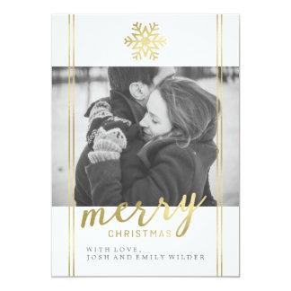 Moderne Weihnachtsschneeflocke | weiß und Gold Karte