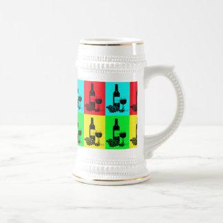 Moderne Wein-und Trauben-Pop-Art Bierkrug