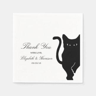 Moderne wunderliche schwarze Katzen-Hochzeit Serviette
