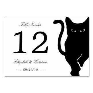 Moderne wunderliche schwarze Katzen-Wedding Karte