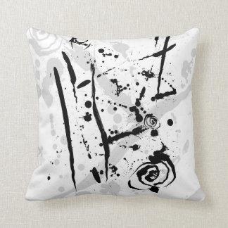 Moderner abstrakter Schwarzweiss-Farben-Spritzer Kissen