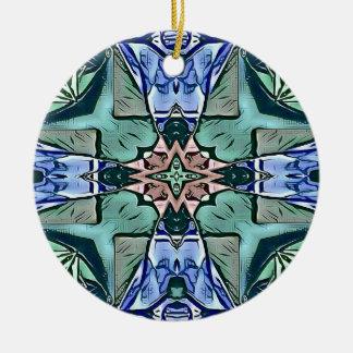 Moderner aquamariner lila Pfirsich-künstlerisches Rundes Keramik Ornament