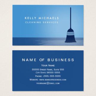Moderner blauer Besen-elegante Visitenkarte