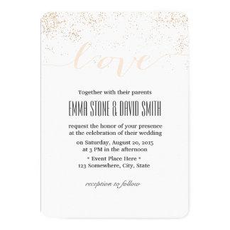Moderner Confetti punktiert Skript-Liebe Wedding 12,7 X 17,8 Cm Einladungskarte